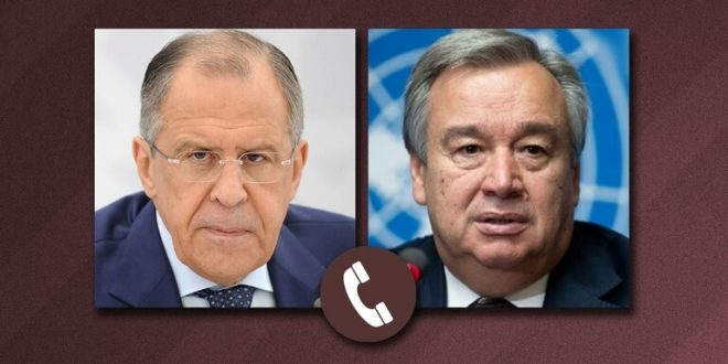 لافروف وغوتيريش يؤكدان خطر نشاط الإرهابيين في سوريا على خلفية الجائحة