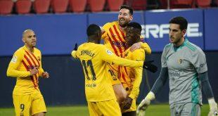 """برشلونة يهزم أوساسونا ويشعل المنافسة على لقب """"الليغا"""""""