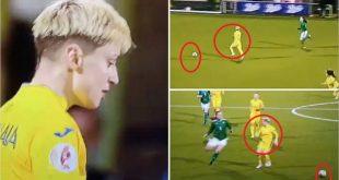 لاعبة منتخب أوكرانيا ترتكب أحد أغرب الأخطاء في تاريخ كرة القدم